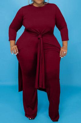 Wine Red Euramerican Women Solid Color Casual Long Sleeve Plus Pants Sets JR3648-2