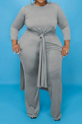 Gray Euramerican Women Solid Color Casual Long Sleeve Plus Pants Sets JR3648-3