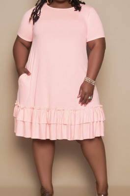 Pink Euramerican Women Trendy Loose Flounce Pure Color Ruffle Plus Mini Dress MA6685-1