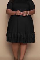 Black Euramerican Women Trendy Loose Flounce Pure Color Ruffle Plus Mini Dress MA6685-2