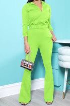 Neon Green New Autumn Winter Long Sleeve Zip Front Hoodie Flare Pants Solid Color Sport Sets KSN88012-3