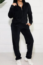Black Solid Color Long Sleeve Coat Korea Velvet Fashion Casual Sport Straight Leg Pants Sets HM5507-2