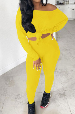 Yellow Simple Long Sleeve Loose Top Bodycon Pants Casual Two-Piece LSN7119-3