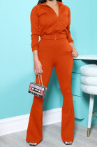 Orange New Autumn Winter Long Sleeve Zip Front Hoodie Flare Pants Solid Color Sport Sets KSN88012-5