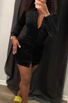 Black Autumn New Long Sleeve Single-Breasted Ruffle Slim Fitting Shirt Dress KSN88010-1