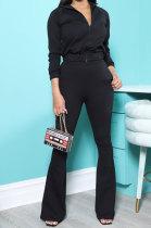 Black New Autumn Winter Long Sleeve Zip Front Hoodie Flare Pants Solid Color Sport Sets KSN88012-2