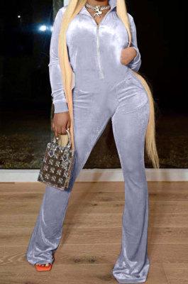 Gray Wholesale Velvet Long Sleeve Zip Front Hoodie Flare Flare Wide Leg Jumpsuits YX9297-4