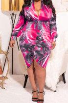 Red Autumn Trendy Printing Ruffle Long Sleeve V Collar Mid Waist Plus Mini Dress PH1237-2