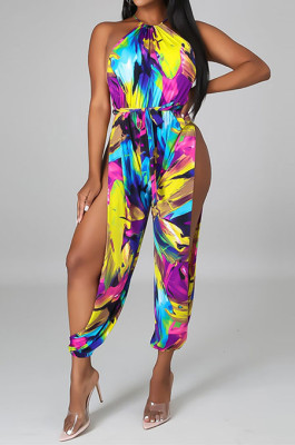 Multicolor Women Euramerican Printing Tied Off Shoulder Loose Waistband Split Casual Jumpsuit MA6723