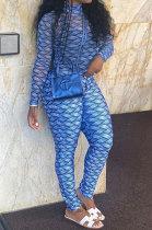 Blue Women Fashion Autumn Winter Sexy Stand Collar Tight Printing Long Sleeve Milk Silk Zipper Bodycon Jumpsuits MR2116-1