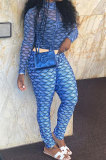 Blue Women Fashion Autumn Winter Sexy Stand Collar Tight Printing Long Sleeve Milk Silk Zipper Pants Sets MR2115-4
