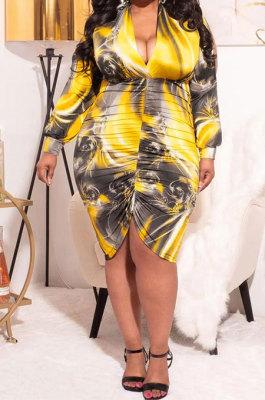 Yellow Autumn Trendy Printing Ruffle Long Sleeve V Collar Mid Waist Plus Mini Dress PH1237-1