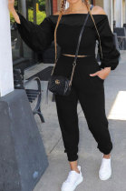 Black Women Lantern sleeve Pure Color Bodycon Fashion A Word Shoulder Elastic Force Pants Sets MR2117-2
