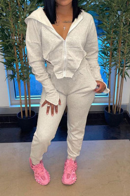 Gray Euramerican Pure Color Zipper Hooded Lady Long Sleeve Long Pants Casual Sport Two-Pieces KZ2136-2