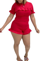 Red Women Euramerican Short Sleeve Flounce Solid Color Shorts Sets MA6707-2