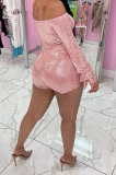 Black Women Sexy A Word Shoulder Long Sleeve Sequins Romper Shorts MA6706-2