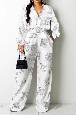 White Women Autumn Winter Irregular Printing Lady Shirts Casual Loose With Waistband Pants Sets KZ2135-1