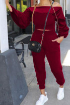 Wine Red Women Lantern sleeve Pure Color Bodycon Fashion A Word Shoulder Elastic Force Pants Sets MR2117-4