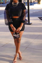 Black Euramerican Women Mesh Spaghetti Perspectivity Sleeve Round Collar Pure Color Shorts Sets MA6669-2