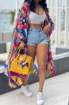 Multicolor Euramerican Women Printing Lantern sleeve Long Sleeve Mantle Jacket LD81022