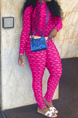 Rose Red Women Fashion Autumn Winter Sexy Stand Collar Tight Printing Long Sleeve Milk Silk Pants Sets MR2115-3