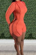 Orange Autumn Winter Euramerican Women Bandage Lacing Hollow Out Long Sleeve Romper Shorts LD81027-3