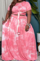 Red Euramerican Women Fashion Loose Printing Plus Skirt Sets MA6714 -1