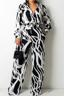 Black Women Autumn Winter Irregular Printing Lady Shirts Casual Loose With Waistband Pants Sets KZ2135-2