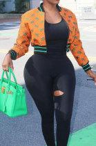 Orange Women Digital Printing Double Baseball Uniform Coat LD81023