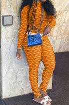 Orange Women Fashion Autumn Winter Sexy Stand Collar Tight Printing Long Sleeve Milk Silk Pants Sets MR2115-1