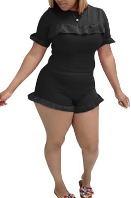 Black Women Euramerican Short Sleeve Flounce Solid Color Shorts Sets MA6707-1