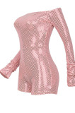 Pink Women Sexy A Word Shoulder Long Sleeve Sequins Romper Shorts MA6706-1