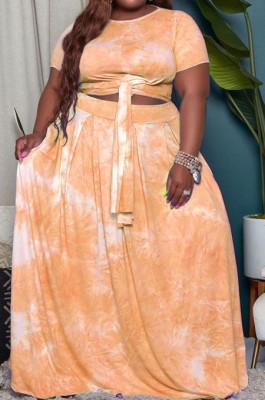 Yellow Euramerican Women Fashion Loose Printing Plus Skirt Sets MA6714 -2