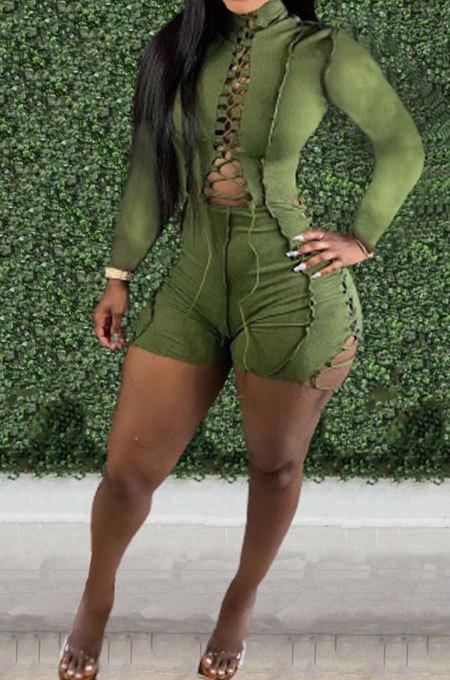 Green Autumn Winter Euramerican Women Bandage Lacing Hollow Out Long Sleeve Romper Shorts LD81027-1