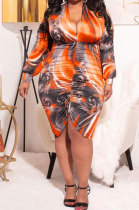 Brown Autumn Trendy Printing Ruffle Long Sleeve V Collar Mid Waist Plus Mini Dress PH1237-3
