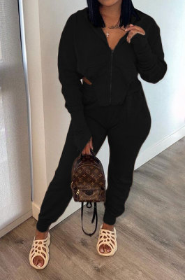 Black Euramerican Pure Color Zipper Hooded Lady Long Sleeve Long Pants Casual Sport Two-Pieces KZ2136-1