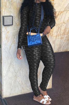 Black Women Fashion Autumn Winter Sexy Stand Collar Tight Printing Long Sleeve Milk Silk Pants Sets MR2115-2