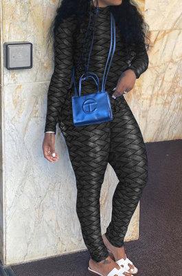 Black Women Fashion Autumn Winter Sexy Stand Collar Tight Printing Long Sleeve Milk Silk Zipper Bodycon Jumpsuits MR2116-3