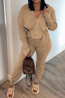 Khaki Euramerican Pure Color Zipper Hooded Lady Long Sleeve Long Pants Casual Sport Two-Pieces KZ2136-4
