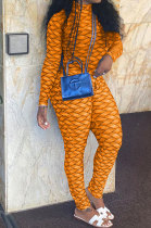 Orange Women Fashion Autumn Winter Sexy Stand Collar Tight Printing Long Sleeve Milk Silk Zipper Bodycon Jumpsuits MR2116-2