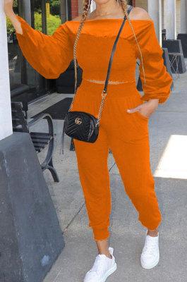 Orange Women Lantern sleeve Pure Color Bodycon Fashion A Word Shoulder Elastic Force Pants Sets MR2117-1