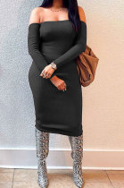 Black Euramerican Fashion Women Sexy A Word Shoulder Solid Color Strapless Mid Dress NL6092-2