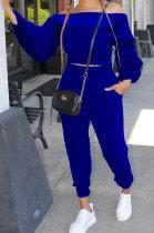Blue Women Lantern sleeve Pure Color Bodycon Fashion A Word Shoulder Elastic Force Pants Sets MR2117-4