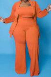Orange Euramerican Women Pure Color Button Condole Belt Tank Long Sleeve Coat Loose Three Pieces Plus Pants Sets PH13247-3