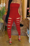 Red Women Sleeveless Solid Color Strapless Hole Bodycon Jumpsuits MA6725-2