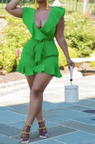 Green Euramerican Women Solid Color Sexy Flounce V Collar Romper Shorts MA6728-1