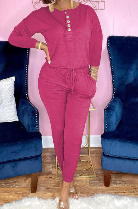 Pink Euramerican Women Autumn Fashion Sport Cotton Pure Color Pocket Pants Sets PH1241-2