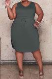 Dark Gray Women Euramerican Fashion Bodycon Sleeveless Solid Color Plus Mini Dress MA6727-3