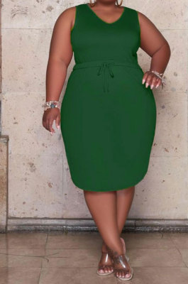 Green Women Euramerican Fashion Bodycon Sleeveless Solid Color Plus Mini Dress MA6727-2