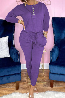 Purple Euramerican Women Autumn Fashion Sport Cotton Pure Color Pocket Pants Sets PH1241-4
